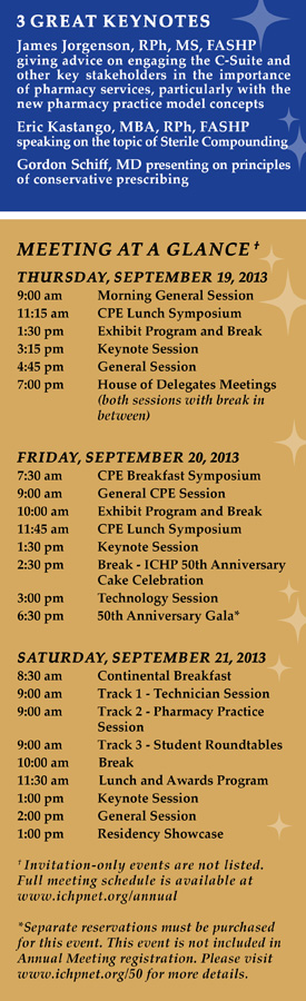 2013 Annual Meeting Schedule